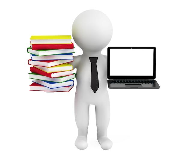 3d personne tenant un ordinateur portable et des livres sur fond blanc