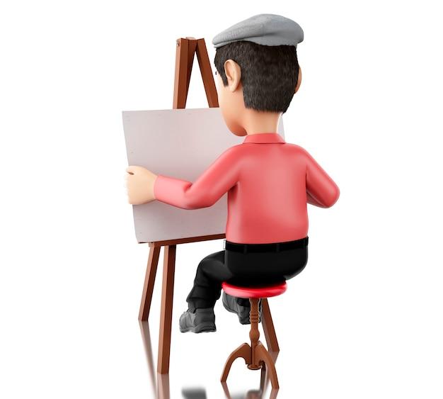 3d personnes artiste avec un chevalet
