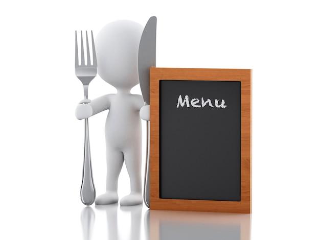 3d personnes blanches chef avec menu, fourchette et couteau.