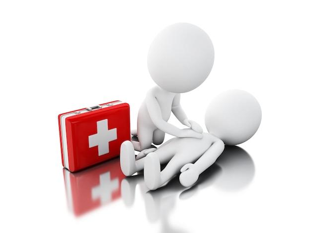3d personnes blanches fournissant un soutien de premiers secours