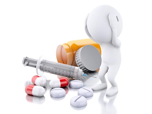 3d personnes blanches avec seringue et pilules