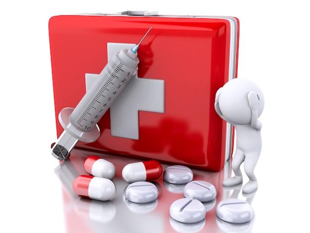 3d personnes blanches avec une seringue, une trousse de premiers soins et des pilules