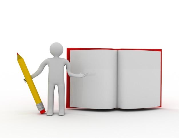 3d personnes -homme, personne avec un crayon et un livre