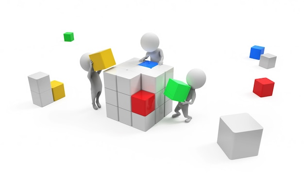 3d, petit, gens, construction, cube, blanc, bacgrounds