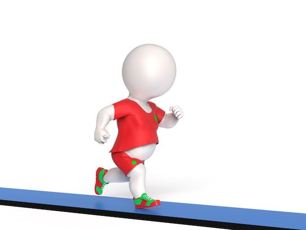 3d petit homme en surpoids courant sur tapis roulant