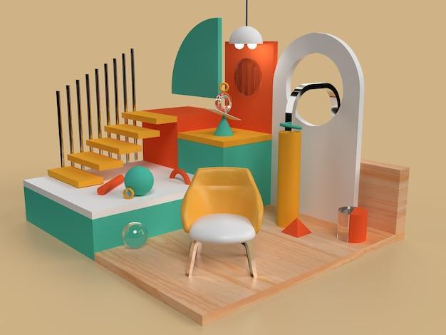 3d pièce rendu scène concept maison design abstrait formes géométriques couleurs subtiles modèle 3d