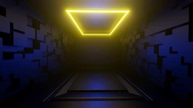 3d plate-forme rendu image de fond abstrait chambre noire lumières jaunes
