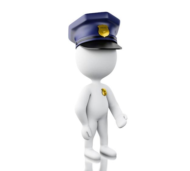 3d policier avec chapeau et badge.