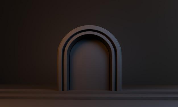 3d porte noire minimale sur chambre noire