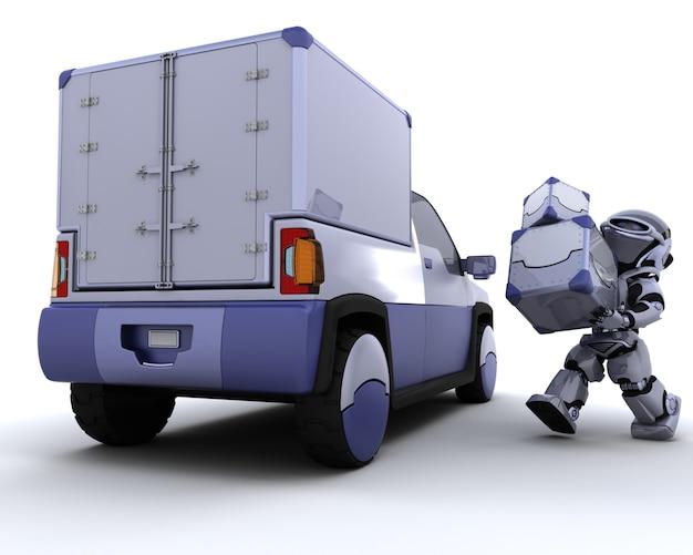 3d rend des boîtes de chargement de robot dans le dos d'un camion
