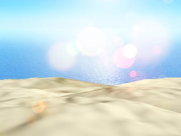 3d rend de près de sable contre un fond bleu de mer