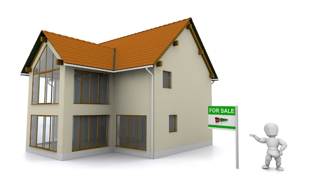 3d rendent d'un agent immobilier montrant une propriété