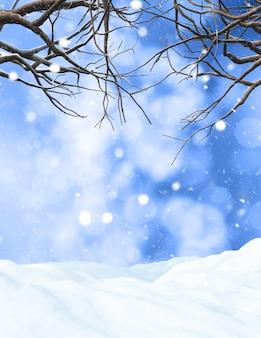 3d rendent d'un arbre d'hiver sur un fond neigeux