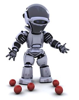3d rendent d'un bateleur de robot et a laissé tomber des balles
