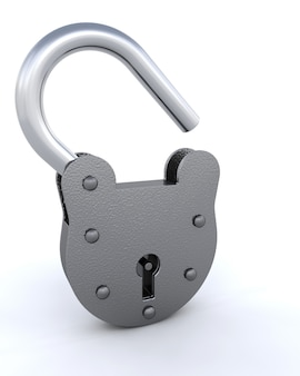 3d rendent d'un cadenas et une clé