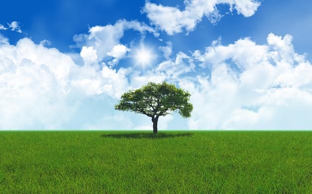 3d rendent d'un chêne dans le paysage herbeux 2701