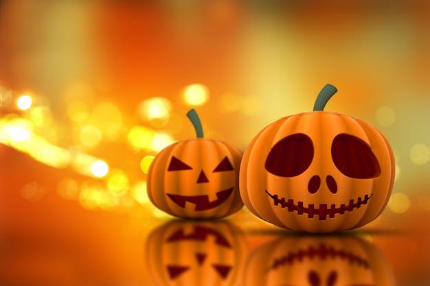3d rendent des citrouilles d'halloween sur un fond de lumières bokeh