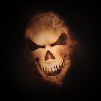 3d rendent d'un crâne avec effet de fumée