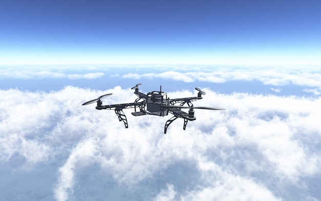3d rendent d'un drone volant au-dessus des nuages