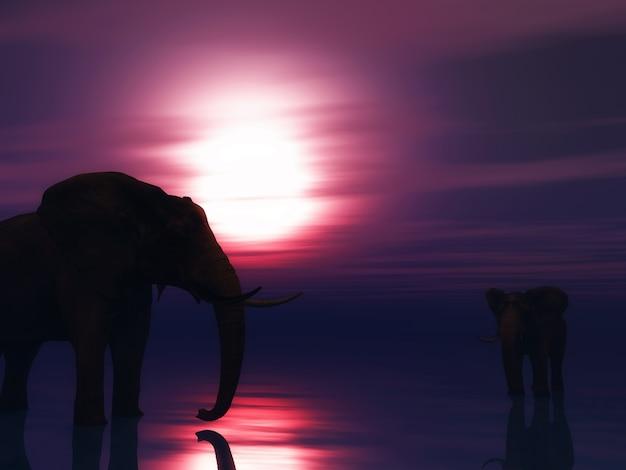 3d rendent des éléphants dans l'océan contre un ciel coucher de soleil