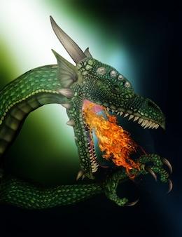 3d rendent d'un fantasme de dragon cracheur de feu