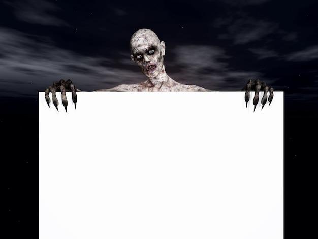 3d rendent d'une figure de zombie tenant un signe blanc
