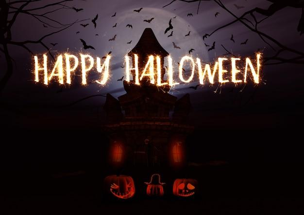 3d rendent d'un fond d'halloween avec des citrouilles et du château fantasmagorique et écrit sparkler