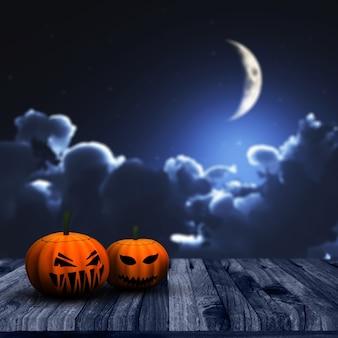 3d rendent d'un fond d'halloween avec des citrouilles sur une terrasse en bois avec défocalisé ciel nocturne