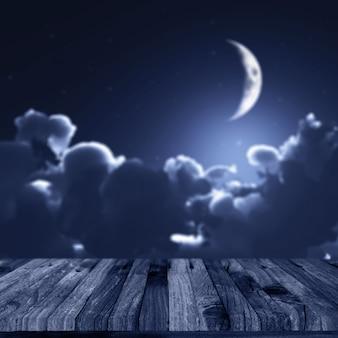 3d rendent d'un fond d'halloween avec une terrasse en bois contre un ciel nocturne défocalisé