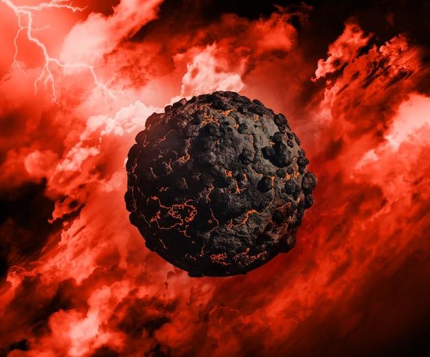 3d rendent d'un globe volcanique dans un ciel orageux avec éclairage