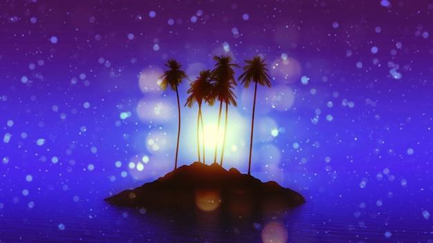 3d rendent d'une île de palmier contre un ciel clair de lune