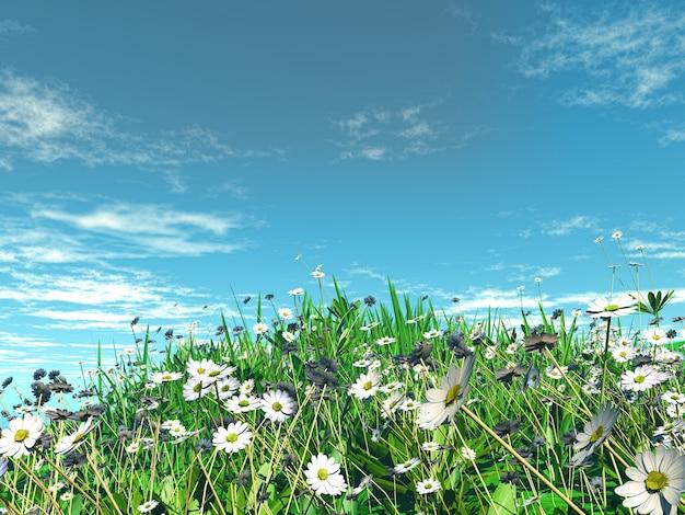 3d rendent des marguerites dans l'herbe contre un ciel bleu