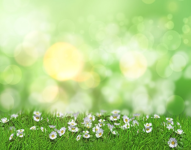 3d rendent des marguerites dans l'herbe sur un fond défocalisé