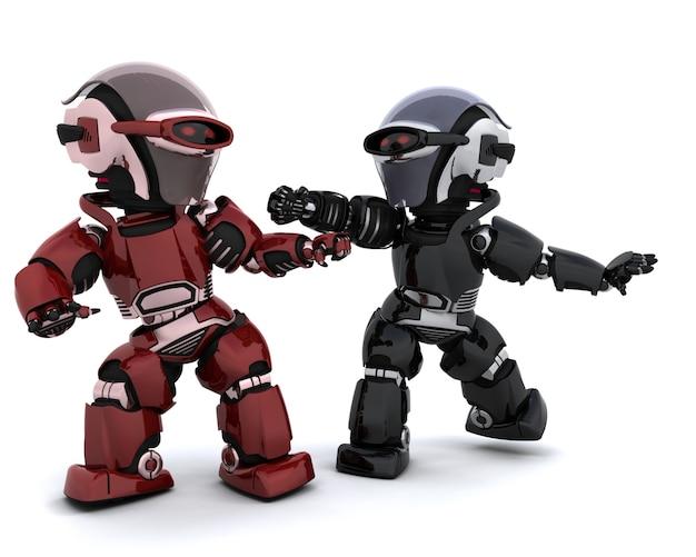 3d rendent d'une paire de robots en conflit