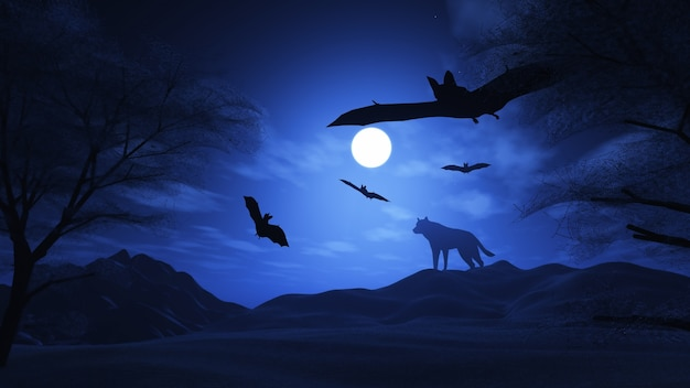 3d rendent d'un paysage fantasmagorique avec le loup et les chauves-souris
