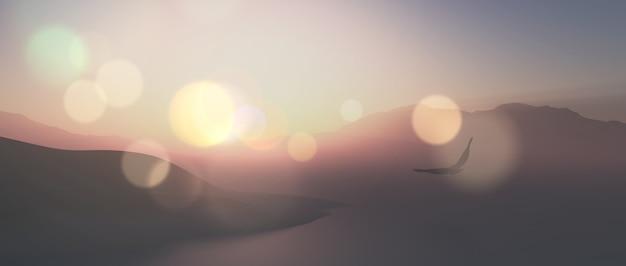 3d rendent d'un paysage panoramique avec aigle volant dans l'air avec effet vintage