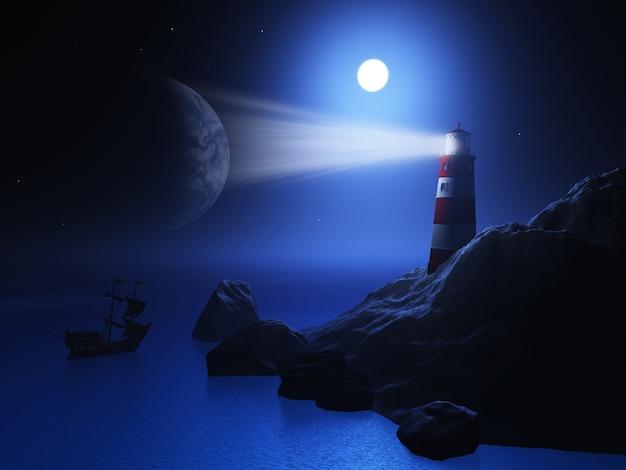 3d rendent d'un phare avec un navire sur l'océan