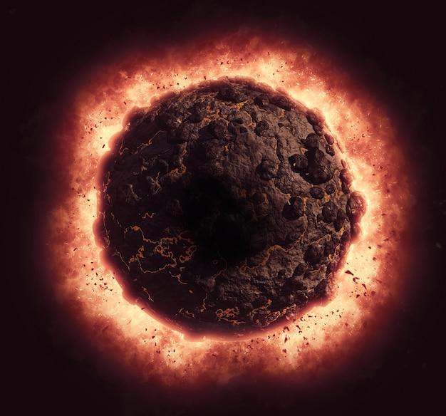 3d rendent d'une planète volcanique avec effet d'explosion