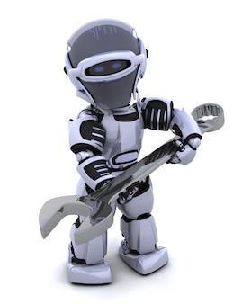 3d rendent d'un robot avec clé à extrémité ouverte
