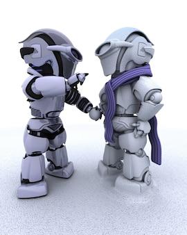 3d rendent d'un robot construire un bonhomme de neige