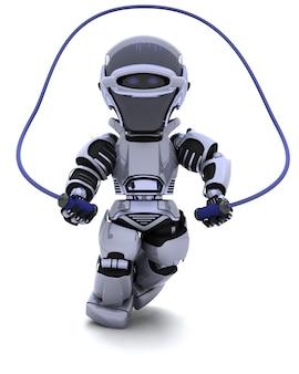 3d rendent d'un robot avec une corde à sauter