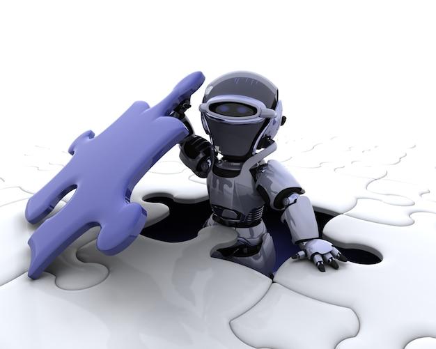 3d rendent d'un robot avec la pièce finale du puzzle