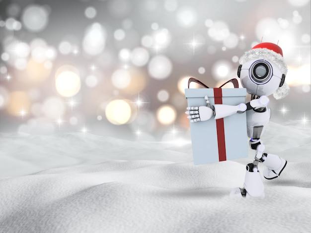 3d rendent d'un robot portant un cadeau de noël dans la neige