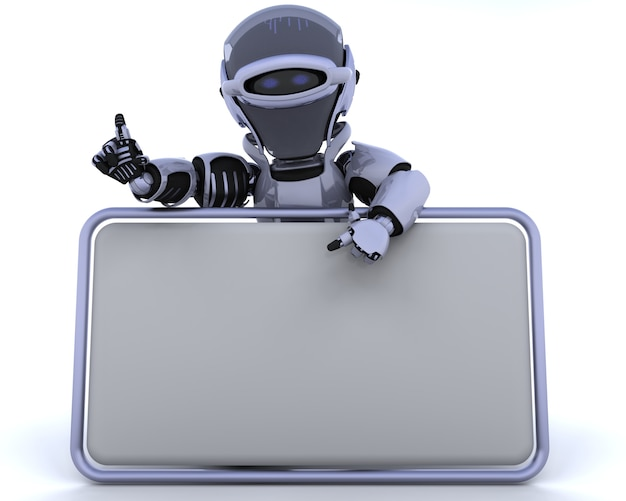 3d rendent d'un robot et signe blanc