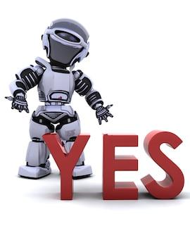 3d rendent d'un robot avec un signe de oui