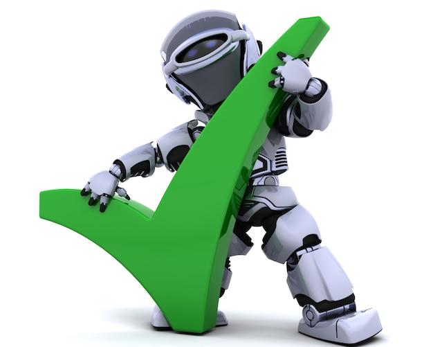 3d rendent d'un robot avec un symbole