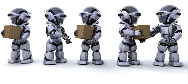 3d rendent d'un robots boîtes d'expédition en mouvement