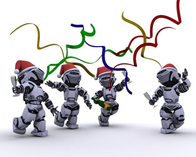 3d rendent d'un robots célébrant lors d'une fête de noël