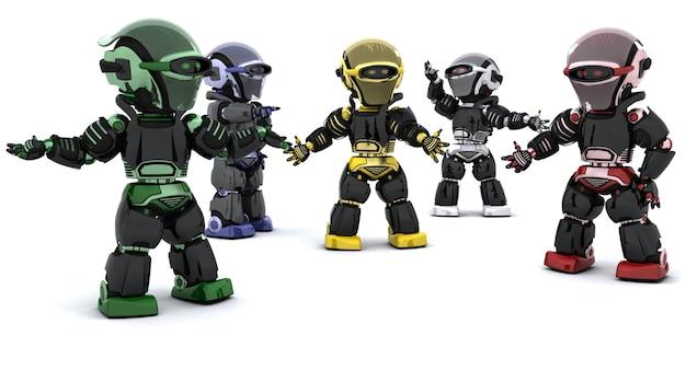 3d rendent des robots dans la résolution des conflits