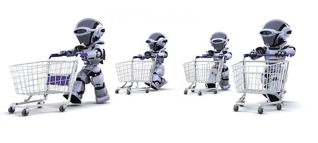3d rendent des robots fonctionnant avec des chariots